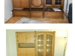 Wohnzimmerschrank vor und nach der Oberflächenbearbeitung