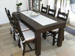 Tisch und Stühle Mooreiche, dunkel versiegelt
