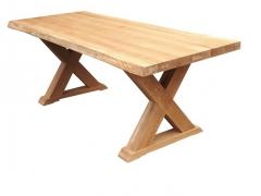 Esstisch mit Baumkante Eiche Massiv